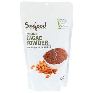 Какао порошок, Cacao Powder, Sunfood, органик, необработанный, 454