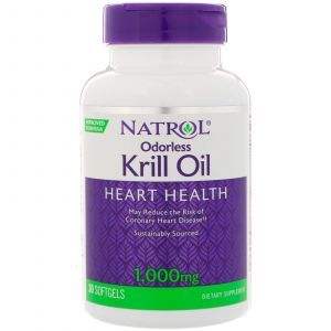 Масло криля, Odorless Krill Oil, Natrol, 1000 мг, 30 гелевых капс