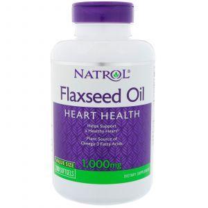 Льняное масло, Flaxseed Oil, Natrol, 1000 мг, 200 гелевых капсу