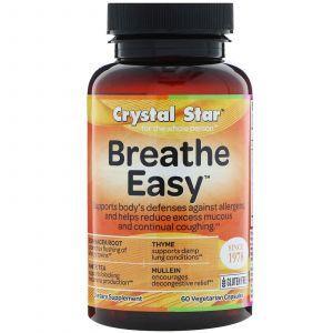 Поддержка органов дыхания, Breathe Easy, Crystal Star, 60 кап.