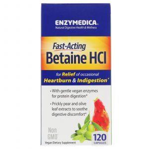 Бетаин гидрохлорид, Betaine HCI, Enzymedica, 120 кап.
