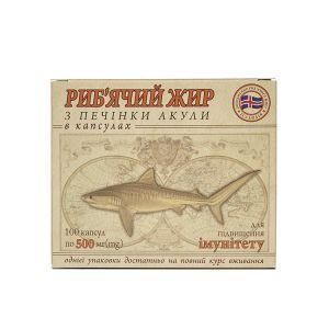 Рыбий жир из печени акулы, Гармония, 500 мг, 100 капсул