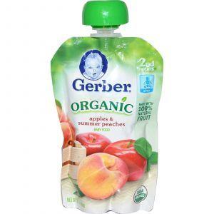 Детское пюре из яблок, персиков, (2nd Foods, Organic Baby Food), Gerber, 99 г