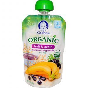 Детское пюре из банана, ягод асаи и зерновых, (2nd Foods, Organic Baby Food), Gerber, 99 г