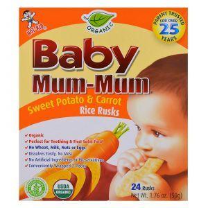 Рисовое детское печенье с бататом и морковью, Baby Rice Rusks, Hot Kid, 24 шт., 50 г