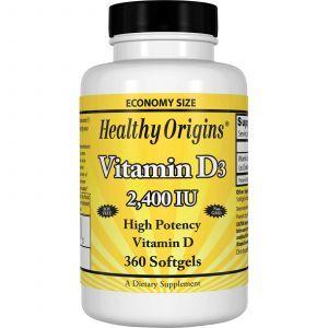 Витамин Д3, Healthy Origins, 2400 МЕ, 360капсу
