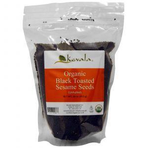 Семена черного кунжута, поджаренные, неочищенные, органик, Organic Black Toasted Sesame Seeds, Kevala, 453 г
