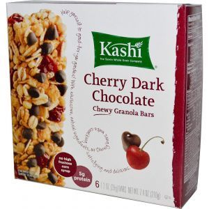 Батончики из мюслей с темным шоколадом и вишней, Chewy Granola Bars, Kashi, 6 батончиков по 35 г