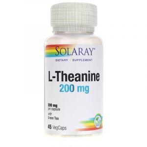 L-теанин с зеленым чаем, L-Theanine, Solaray, 200 мг, 45 вегетарианских капсул