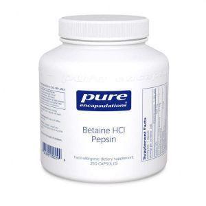 Бетаин HCl/пепсин, Betaine HCL/Pepsin, Pure Encapsulations, 250 капсул