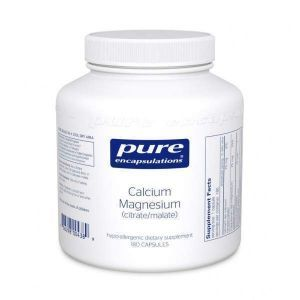 Магний Кальций (цитрат/малат), Calcium Magnesium (citrate/malate), Pure Encapsulations, 180 капсул