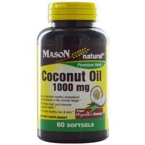 Кокосовое масло, Mason Vitamins, 1000 мг, 60 капсул