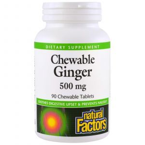 Имбирь жевательный, Chewable Ginger, Natural Factors, 500 мг, 90 таб.