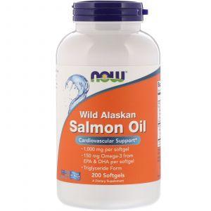 Масло лосося, Wild Alaskan Salmon Oil, Now Foods, 1000 мг, 200 гелевых капсул
