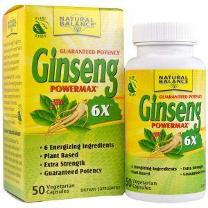 Женьшень, Ginseng Powermax 6X, Natural Balance, 50 кап.
