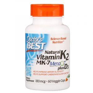 Витамин К2 (Artery Prime with Mena Q7), Doctor's Best, 180 мкг, 60 капсул