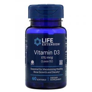Витамин Д-3, Life Extension, 7000 МЕ, 60 капсул