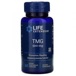Триметилглицин, TMG, Life Extension, 500 мг, 60 капсул