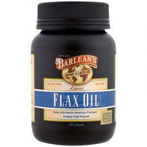 Органическое льняное масло, Barlean's, 100 кап.