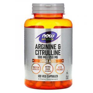 Аминокислоты, аргинин и цитруллин, (Arginine & Citrulline, 500/250), Now Foods, 120 капсул