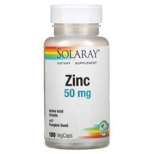Хелатный цинк, Zinc, Solaray, 50 мг, 100 капс.