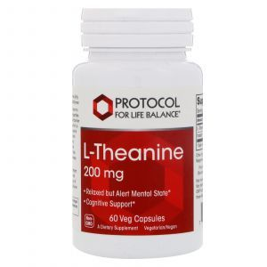 L-теанин, L-Theanine, Protocol for Life Balance, 200 мг, 60 капсул