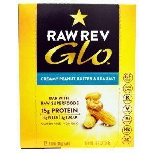 Батончики с кремовым арахисовым маслом и морской солью, Glo, Raw Revolution, 12 бат.