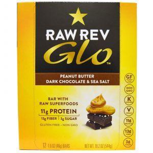 Батончики с арахисовым маслом, темным шоколадом и морской солью, Glo, Raw Revolution, 12 бат.