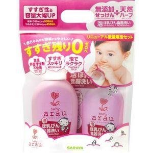 Жидкость для мытья детской посуды Arau Baby Bottle Wash 500 мл + сменный блок 450 мл, Saraya