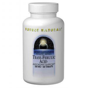Транс-феруловая кислота, Source Naturals, 250 мг, 60 таб.