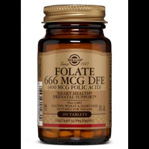 Фолиевая кислота, Folate as Metafolin, Solgar, метафолин, 400 мкг (666 мкг DFE), 100 таблеток (Default)