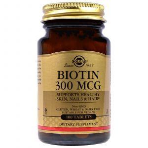 Биотин, (Biotin), Solgar, 300 мкг, 100 таблеток
