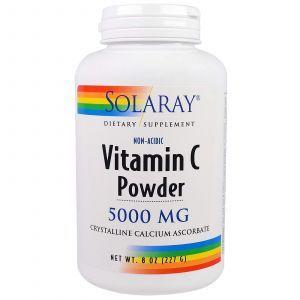Витамин С, Vitamin C Powder, Solaray, 5000 мг, 227 г.