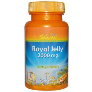 Маточное молочко, Royal Jelly, Thompson, 2000 мг, 60 кап.