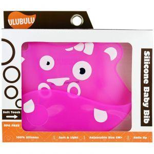 Нагрудник для малышей, розовый бегемот, Silicone Baby Bib, Ulubulu, 1 шт