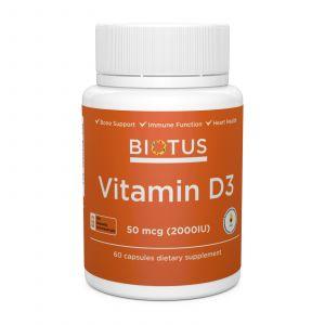 Витамин Д3, Vitamin D3, Biotus, 2000 МЕ, 60 капсул