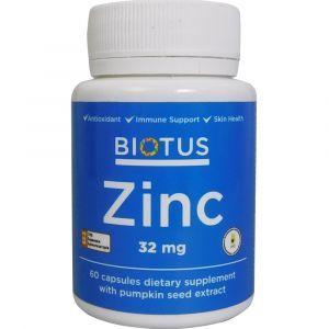 Цинк, Zinc, Biotus, 32 мг, 60 капсул