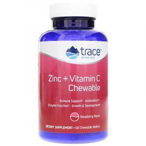 Цинк + витамин С, Zinc + Vitamin C, Trace Minerals Research, вкус малины, 60 жевательных вафель